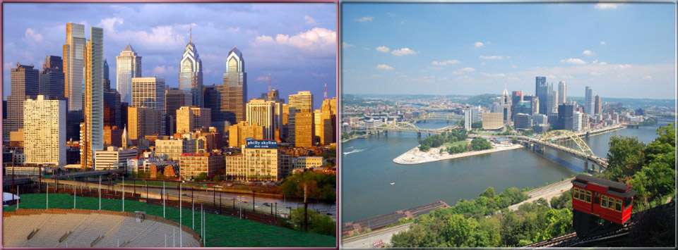 Philadelphia and Pittsburg Skyline